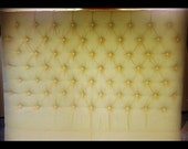 Diamond Tufted Yellow Linen Headboard (King, Extra Tall)