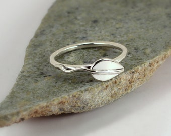 Single Leaf Ring, Sterling Silver, Made to Order
