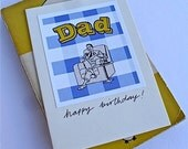 Retro Dad Birthday Card - Blue or Yellow - Relaxing Dad, 50s Style, Collage Print - Happy Birthday