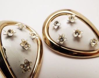 Vintage Rhinestone Flower Earrings White Enamel Clip On