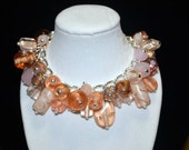 Chunky Peach, Light Pink, Gold and Clear Beaded Charm Bracelet - Silver Chain, Lampwork Glass Beads