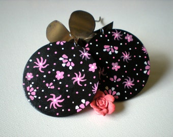 Pink Spring Flower Earrings- Extra large circle wood earrings- pink flowers on black
