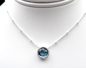 London Blue Topaz Sterling Silver Necklace for Wedding, Birthday and Anniversary
