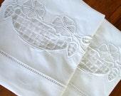 Vintage Pillowcases Linen Cotton 2 Fancywork Pair Pillow Cases