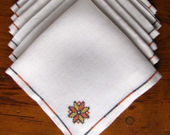 Vintage Linen Napkins Six 6 Embroidered Flowers Brown Orange Gold Autumn