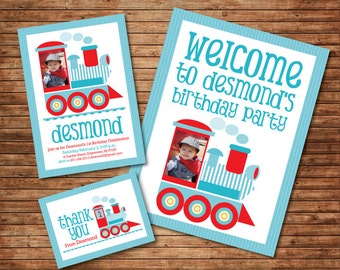 PRINTABLE Train Birthday, PHOTO Customized Invitation, DIY birthday decoration, matches Thomas the train, blue and red