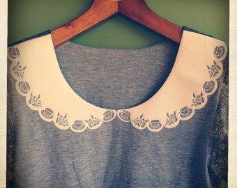 Grey T-Shirt with Flocked Teacup Peter Pan Collar and Puffed Floral Sleeves