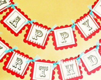 Happy Birthday Circus banner in Red and Light Blue