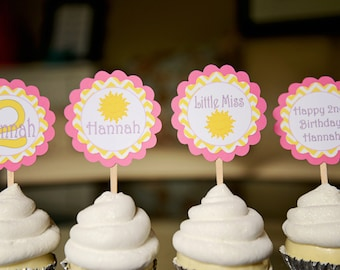 You are my sunshine-Little Miss Sunshine-Sunshine theme cupcake toppers-pink and yellow-set of 12