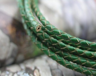 2YARD 3.0mm Braided Round Green Bolo Real Leather Cord