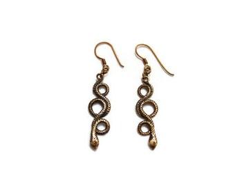 Vintage Bronze Snake Earrings