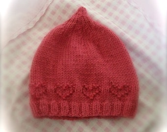 Baby Hat Knitting Pattern, Sweetheart hat, PDF