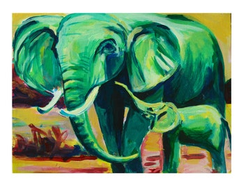 Mama and Baby Elephants- Nursery Art