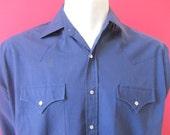 Mens LARGE cowboy shirt, Plains Western Wear, vintage, royal blue, pearl snaps (350)