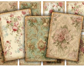 Digital Images - Digital Collage Sheet Download - Vintage Floral Tags -  305  - Digital Paper - Instant Download Printables