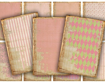 Digital Collage Sheet Download - Pink Shabby Tags -  230  - Digital Paper - Instant Download Printables