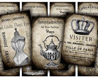 Digital Images - Digital Collage Sheet Download - Grunge French Tags -  628  - Digital Paper - Instant Download Printables