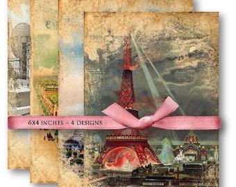 Digital Collage Sheet Download - Vintage Paris Backgrounds -  656  - Digital Paper - Instant Download Printables