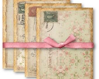 Digital Collage Sheet Download - A4 Vintage Floral Postcards -  694  - Digital Paper - Instant Download Printables