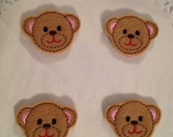 Mini Felt Teddy Bear Face Applique-Set of 4