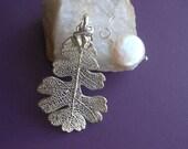 Silver Leaf Necklace,Real Oak Leaf, Sterling Silver Necklace,Pearl Necklace, Gift for Wife, Gift for Best Friends, Gift for Mom