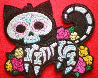Large Embroidered Gato Muerto Iron-On Patch, Day of the Dead, Dia de los Muertos, Cat Skeleton Applique Patch, Hispanic