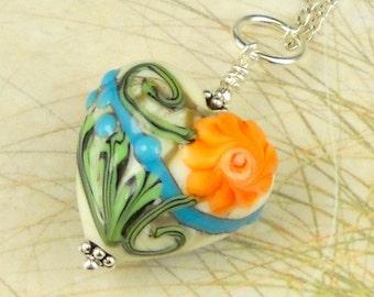 Statement Jewelry Lampwork Bead Heart Necklace Flowers