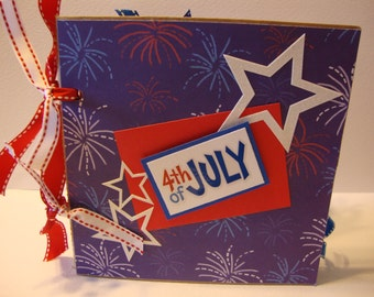 4th of July paper bag scrapbook album-- Decorated for a girl