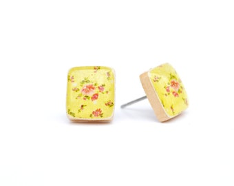 Yellow floral square studs post earrings wood earrings minimalist jewelry eco fashion eco friendly unique gift for her