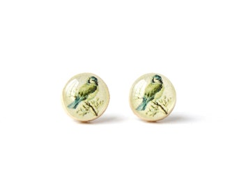 Vintage bird studs post earrings eco friendly jewelry mother's day earrings wood earrings minimalist jewelry eco fashion for her