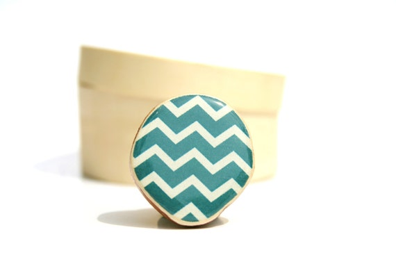Deep Sea Blue Chevron statement ring, statement ring, wood jewelry adjustable ring, geometric wood ring cocktail ring eco friendly