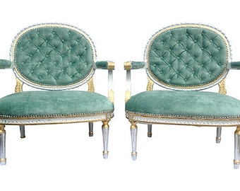 Vintage Upholstered Tufted French Louis Rococo Arm Chairs Fauteuils Silver Giltwood Gilded Elegant Modern Chic Glam