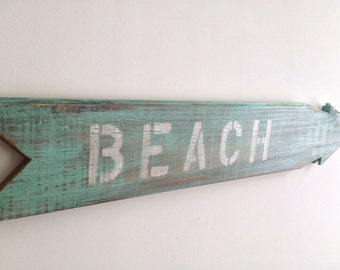 Rustic BEACH Sign Made out of Reclaimed Wood