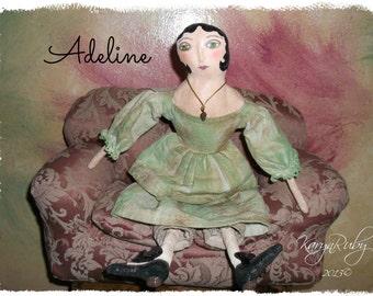PDF EPattern  to make 14 inch 'Adeline'   Vintage Inspired Primitive Doll by Artist KarynRuby