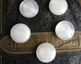 "Vintage Buttons - 5 White Decorative Buttons, Spiral Pattern, 1 3/8"" Diameter, Coat or Jacket"