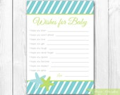 Printable Baby Wishes Card - Under the Sea Baby Shower Games. INSTANT DOWNLOAD.