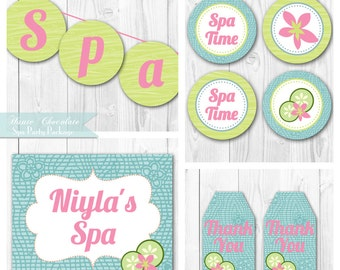 Spa Birthday Party Package. DIY Printable Spa Party Decorations. Feautred on Amy Atlas.