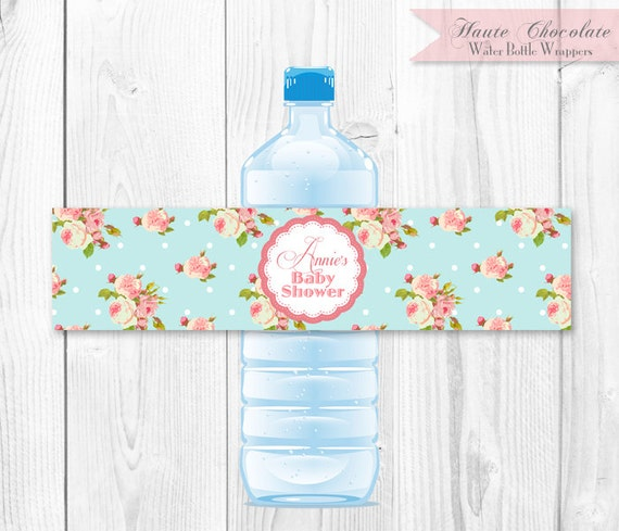Vintage Shabby Chic Water Bottle Labels - Blue Rose. DIY Printable Water Bottle Wrappers.
