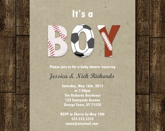 Sports Boy Baby Shower Invitation Digital Printable or Printed, ANY color ANY wording