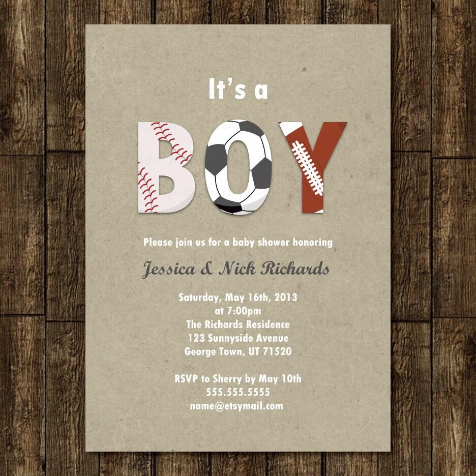 sports boy baby shower invitation digital printable or