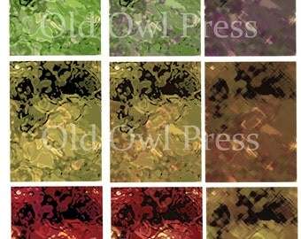 Printable ATC backgrounds muted colors and hues trading cards and collage