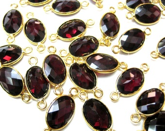 24 kt. Gold Plated Bezel Connectors lot , Natural Chekker Cut Faceted Red Garnet Gemstone Finding station , Garnet stone connector supplies