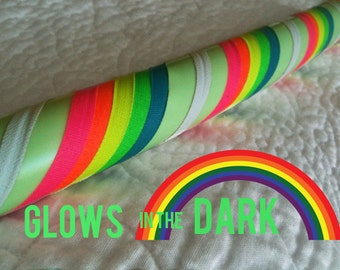 Double Rainbow GLOW in the Dark - Dance & Exercise Hula Hoop COLLAPSIBLE or Push Button - neon pink yellow green purple rainbow