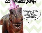 Girl Dinosaur Birthday Invitation -- print at home -- 4x6""
