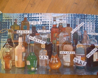 Vintage Tea Towel French - Bar Drinks Alcohol Bottles Free Shipping Worldwide