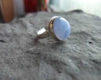 Blue Chalcedony Ring - 925 Sterling Silver - Bezel Set Cabochon - Size 7 Seven - Handmade Artisan