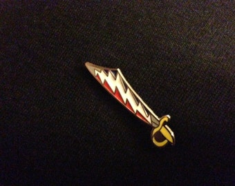 13 Point Lightning Bolt Pirate Sword Pin - Red & Blue