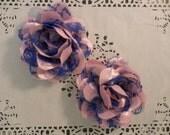 "Light Pink and Royal Blue Mesh  4.5"" Chiffon Mesh Flowers - 2 PCS"