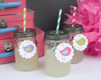 A LITTLE BIRDIE Birthday Party Drink Accent Tags 12 {One Dozen} - Party Packs Available