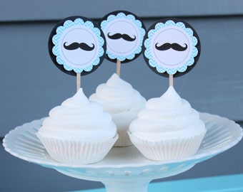 MR MUSTACHE It's A Boy Baby Shower Cupcake Toppers 12 One Dozen  - Party Packs Available